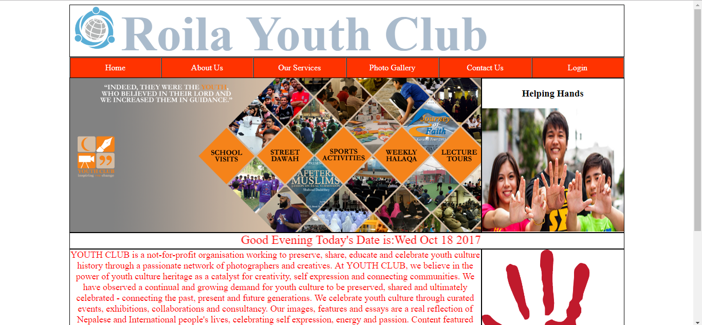 Social Club's Site Using HTML, CSS & JAVASCRIPT