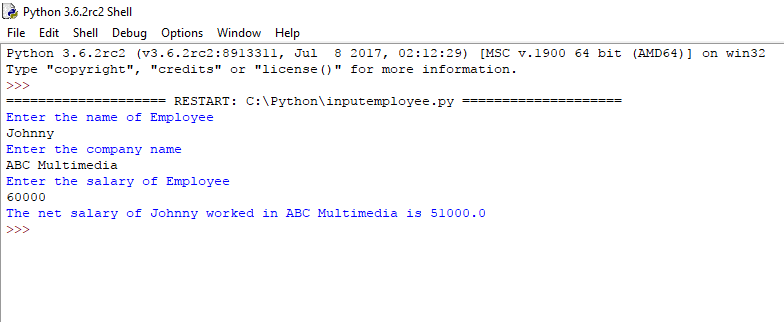 Python Basics : How To Calculate Salary of Employee (with Taxable amount)