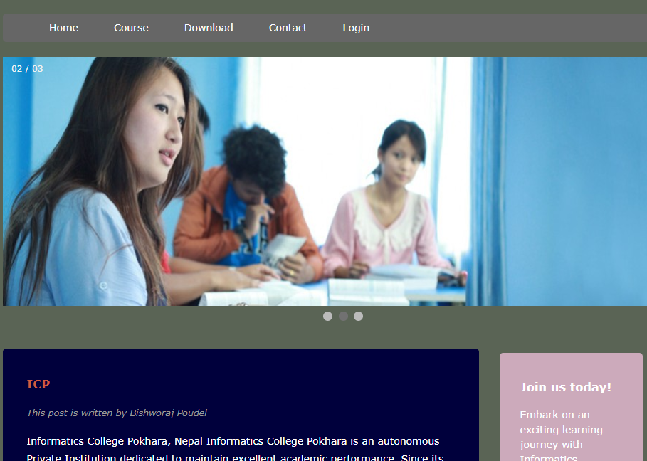 Simple College site Using HTML,CSS AND JAVASCRIPT
