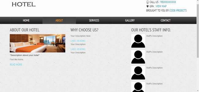 Hotel Site Using HTML, JavaScript & CSS | Source Code & Projects