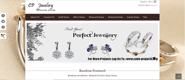 Jewellery Store Site Using PHP With Source Code