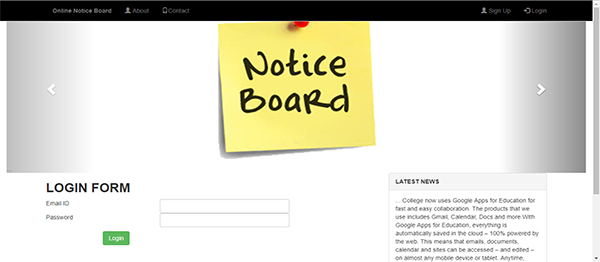 Online Notice Board Using PHP With Source Code