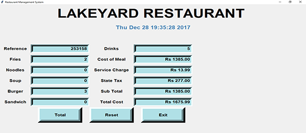 Restaurant Bill Management System In PYTHON With Source Code
