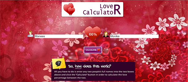 Simple Love Calculator From PHP With Source Code