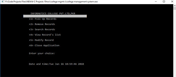 College Record Management System In C Programming With Source Code