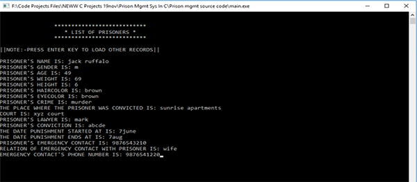 Prison Management System In C Programming With Source Code