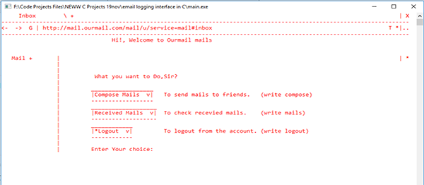 Email Logging Interface In C Programming With Source Code