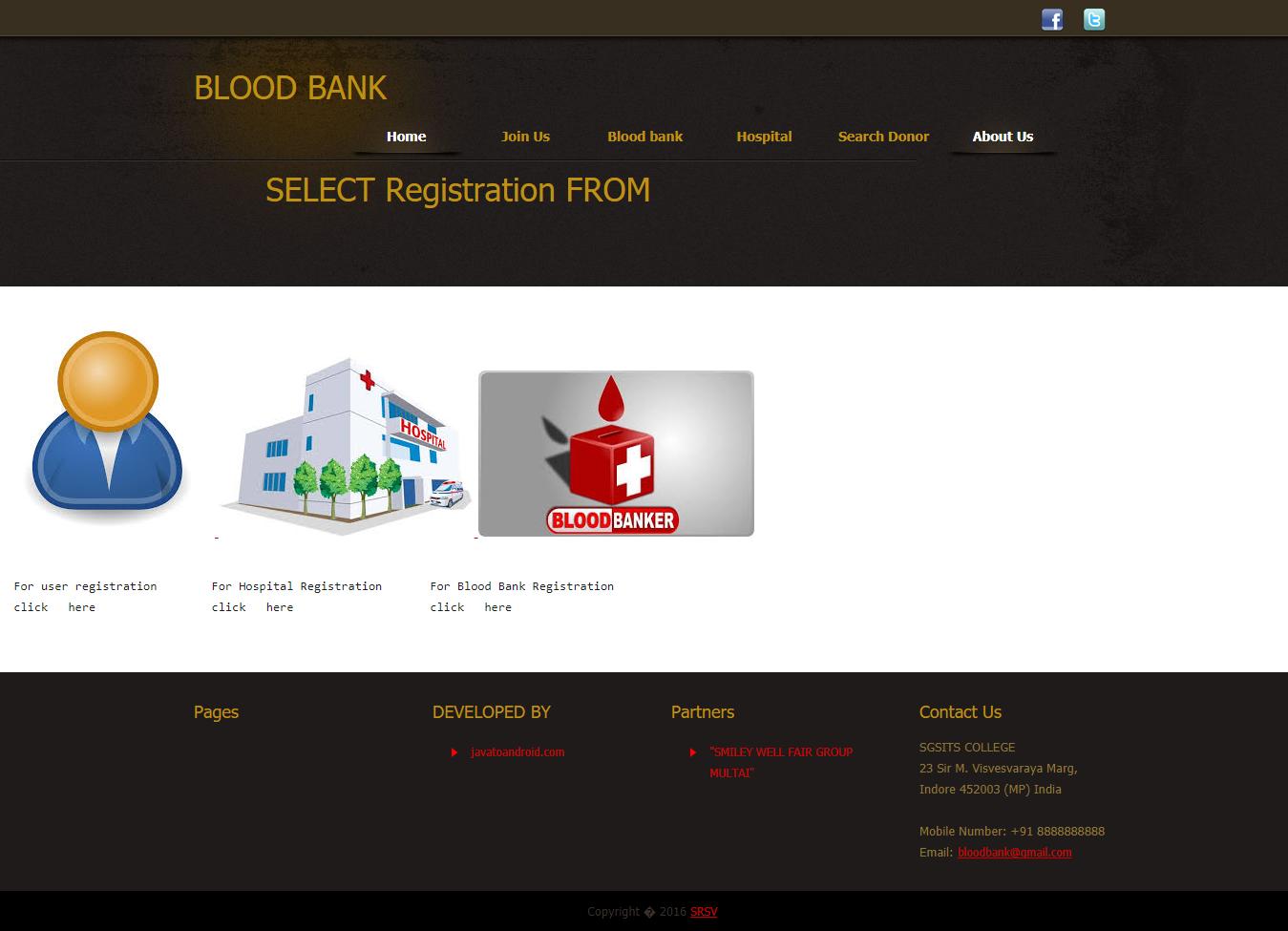java code for online blood bank management system