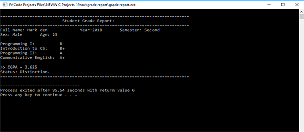 Student Grade Report System In C++ With Source Code
