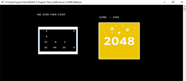2048 Game In C Programming With Source Code