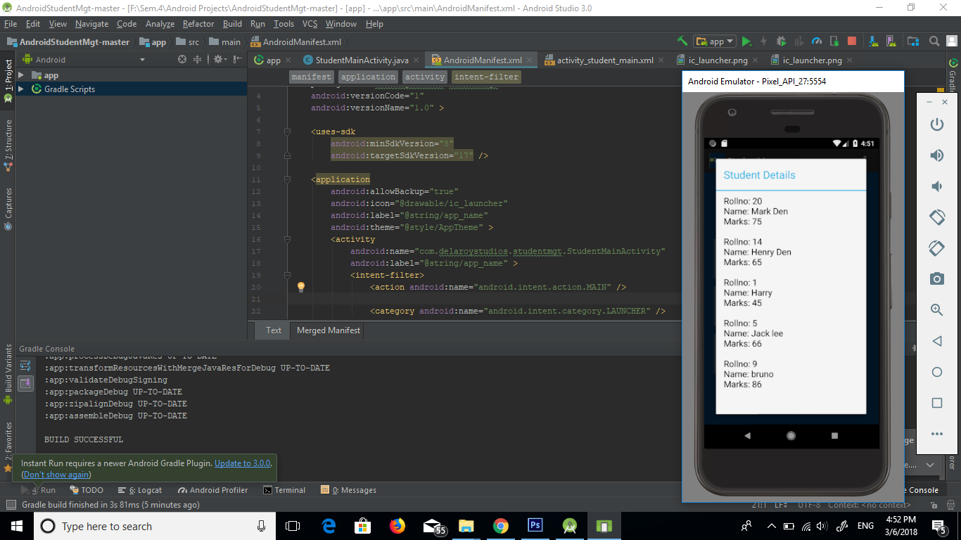 Student Management In Android With Source Code - Code Projects