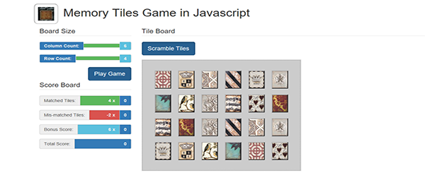 MEMORY TILES GAME IN JAVASCRIPT WITH SOURCE CODE