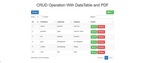 CRUD Operation With DataTable and PDF In PHP With Source Code