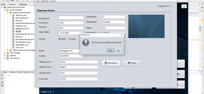 Employee Payroll Management System In Java Using NetBeans