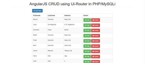 CRUD Using Ui-Router In Angular JS With Source Code