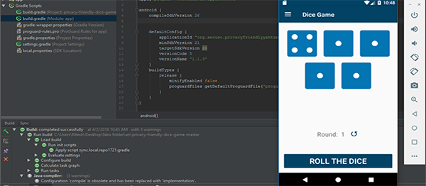 DICE GAME IN ANDROID WITH SOURCE CODE