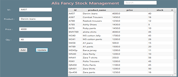 Stock Management System In Java And JavaFX Using NetBeans With Source Code