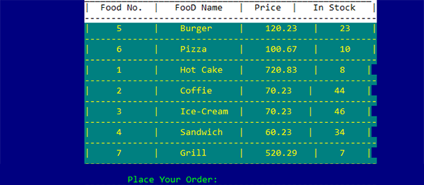 Food Order Management System In C Programming With Source Code