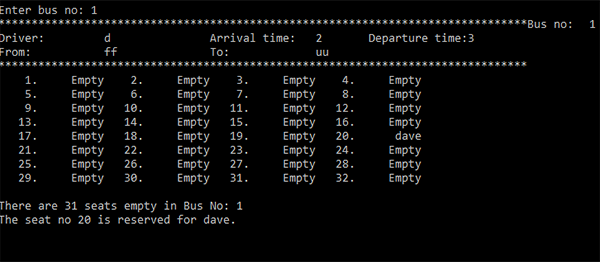 BUS TICKET BOOKING SYSTEM IN C++ WITH SOURCE CODE