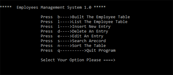 Employee Management System (Version 1.0) In C++ With Source Code