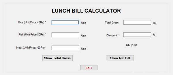 Lunch Bill Calculator In C# With Source Code