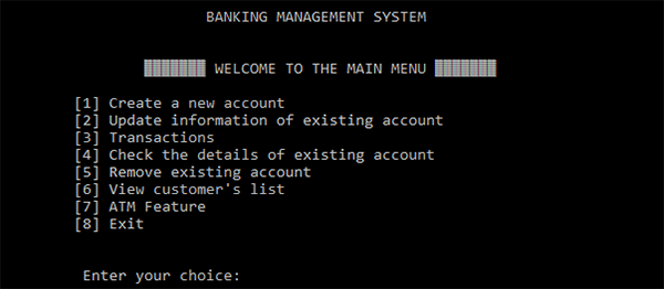 Bank Management System In C Programming With Source Code