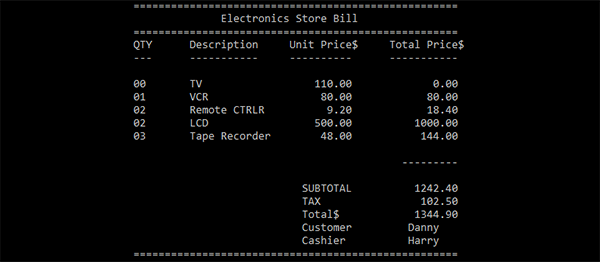 Electronics Store Billing System In C Programming With Source Code