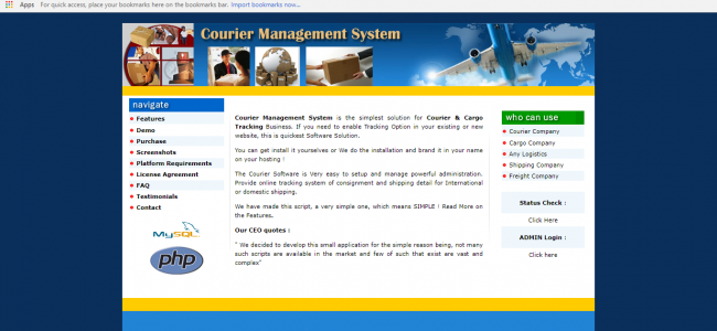 Courier Management System In PHP With Source Code | Source