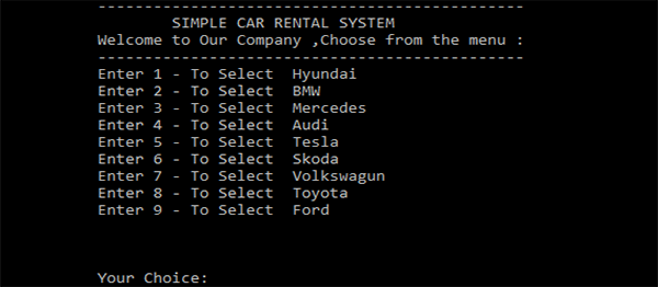 Simple Car Rental System In C++ With Source Code