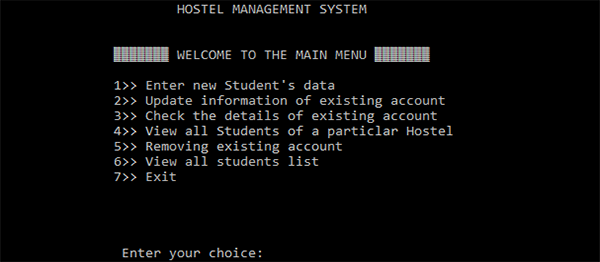 Hostel Management System In C Programming With Source Code
