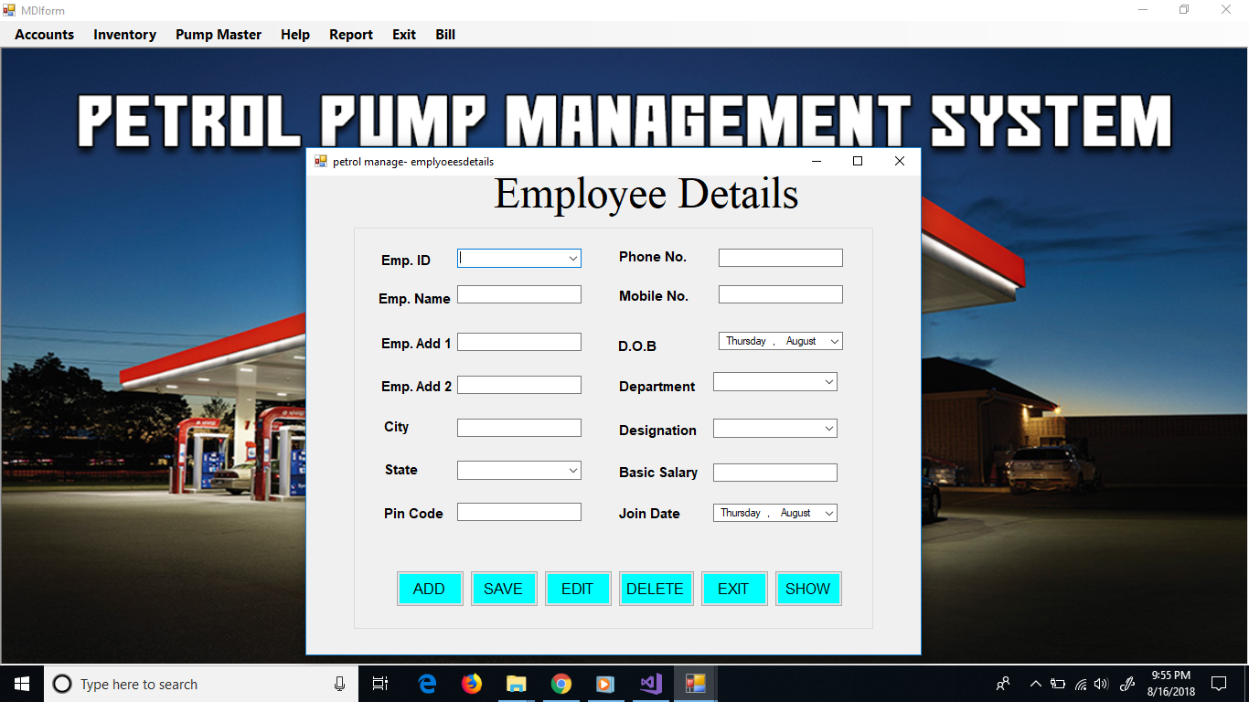 project report petrol pump management system in c Coffee shop management system project in c# net 0 in this coffee shop management system project we can store all customers details, coffee details, product details,and also placed order's details into database also delete placed order and see the report of all data.