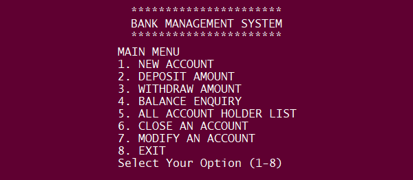 BANK MANAGEMENT SYSTEM IN PYTHON WITH SOURCE CODE