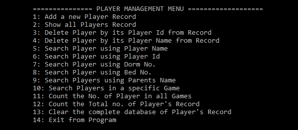 Player Management System In C++ With Source Code