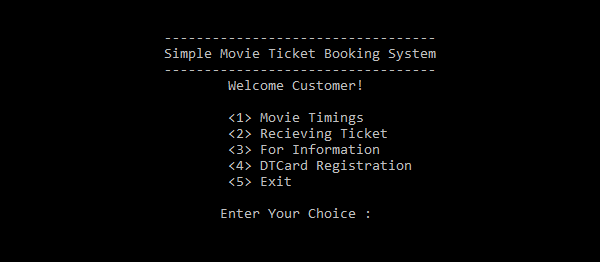 Simple Movie Ticket Booking System In C++ With Source Code