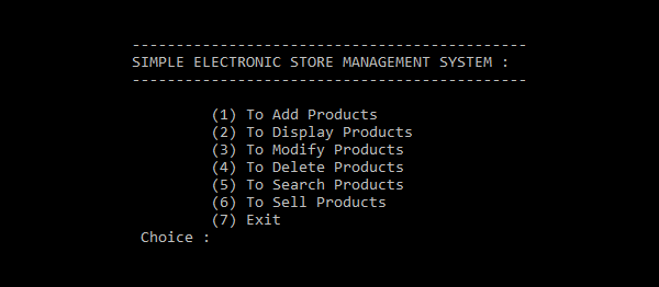Simple Electronic Store Management System In C++ With Source Code