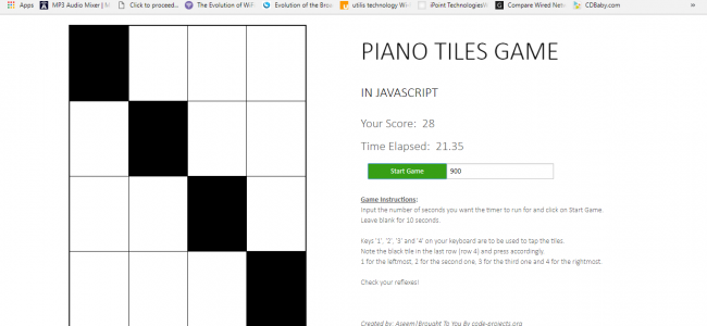 Piano Tiles Game In JavaScript With Source Code | Source Code & Projects