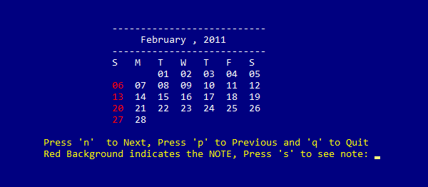 Simple Calendar In C Programming With Source Code