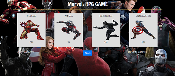 Marvel Role-Playing Game In JavaScript With Source Code