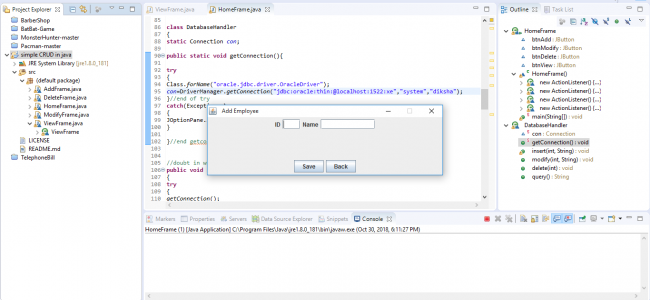 Simple CRUD Employee System In Java With JDBC Driver With