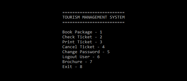Tourism Management System In C Programming With Source Code