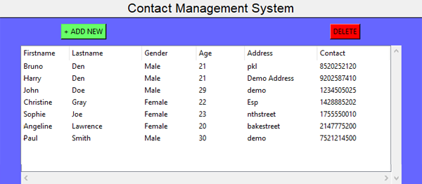 Contact Management System In PYTHON With Source Code