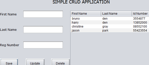 Java Swing CRUD Application With Source Code