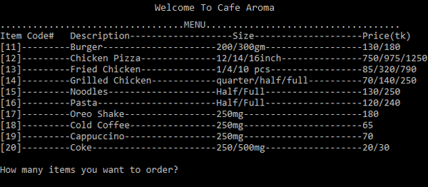 Simple Food Ordering System In C Programming With Source Code