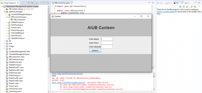 Restaurant Management System In JAVA With Source Code