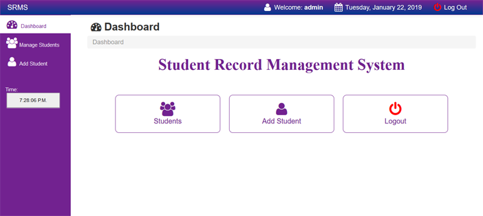 Screenshot taken from Student Record Management System In PHP