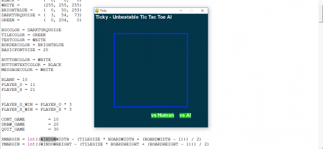 Tic-Tac-Toe Game with AI In PYTHON With Source Code | Source