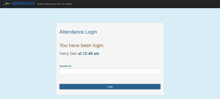 Simple Attendance Record System in PHP