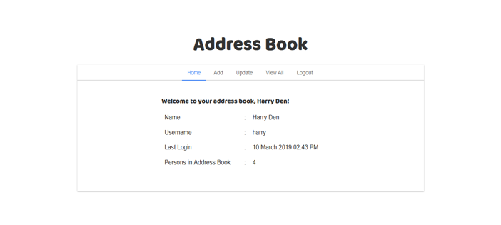 Address Book in PHP