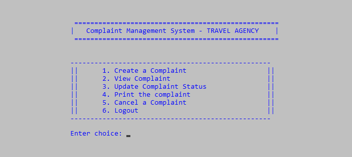 Complaint Management System in C++