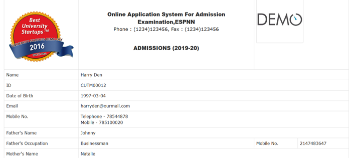 Online Admission System in PHP